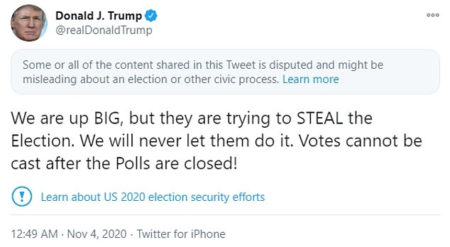 Since the election, Twitter has flagged Trump's tweets which contained claims of voter fraud and other improprieties