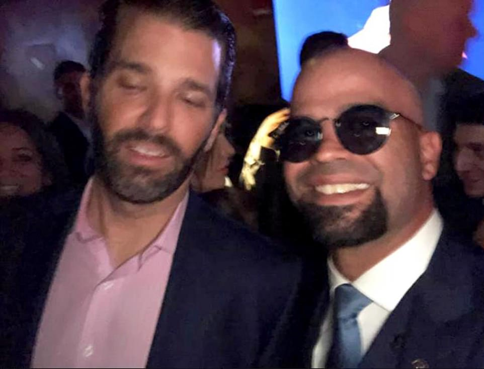 Two of the Proud Boy members injured in the knife attack have been named as the group's chairman Enrique Tarrio and prominent member Bevelyn Beatty. National chairman of the Proud Boys Enrique Tarrio has ties with the GOP and was previously pictured with Donald Trump Jr (above)