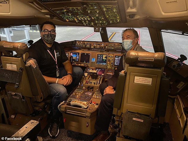 Sinegal got to sit in the cockpit of a Boeing 777 for the first time in 2018 while serving as an ambassador of Republic Airlines