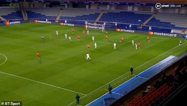 Istanbul Basaksehir striker Demba Ba (left) was unmarked following a short corner from United