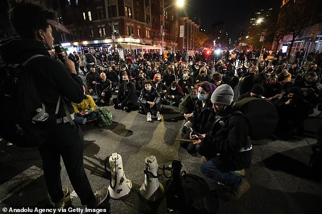 Election protestors marched the streets in Manhattan on Wednesday night