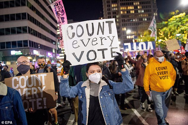 Demonstrators rally outside of City Hall over the 2020 Presidential election in Philadelphia. Counting of mail-in ballots in Pennsylvania began on Tuesday and is expected to last until Friday