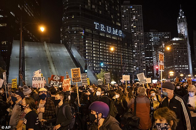 Drawbridges were raised in downtown Chicago on Wednesday night as protestors took to the streets