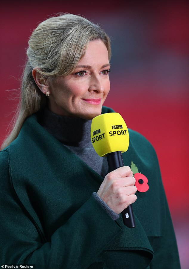 Heartache:The sports presenter, 47, said her family was 'shattered into a million pieces' after Daniel Yorath keeled over and died while playing football with their dad (Gabby, pictured last week)