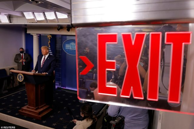 End of the show: As Trump spoke from the WHite House podium TV network after TV network turned off his conspiracy-theory laden tirade