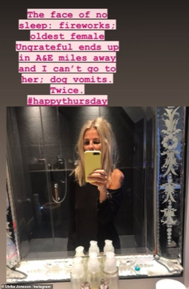 'The face of no sleep': Ulrika shared this picture on Instagram Stories at the start of November and wrote about her worries over her daughter Bo