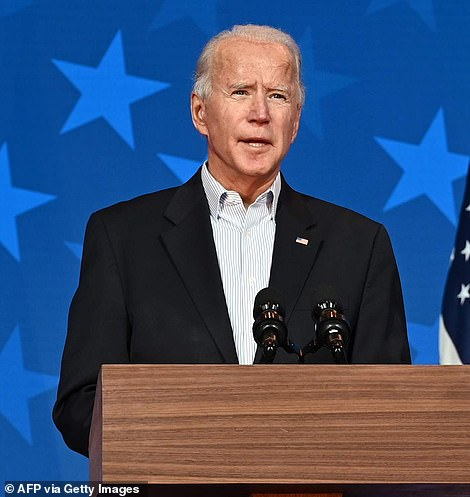 Biden on Thursday night - he is now poised for White House victory after taking the lead in Pennsylvania