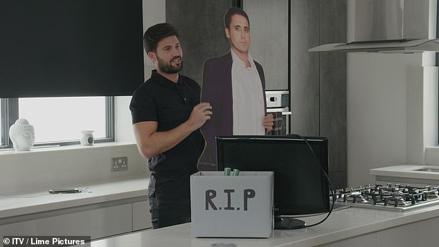 Bye bye bachelor!The 30-year-old seems to be saying goodbye to his bachelor life with his pals as he is pictured with an 'RIP' box, as well as a TV and bizarre cut-out of Gatsb