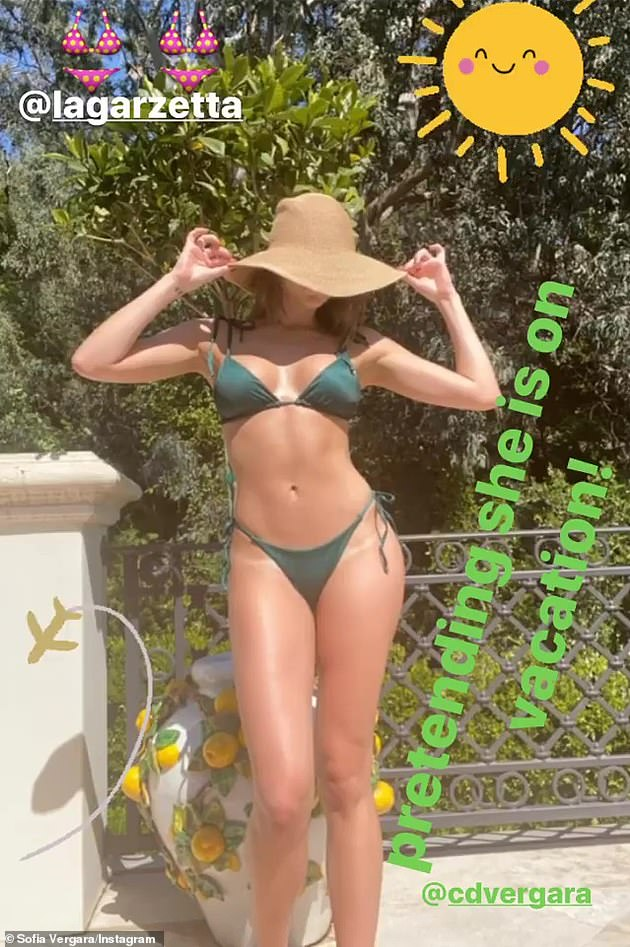Looking good: Vergara (seen in April) has maintained her toned and flawless figure for more than two decades