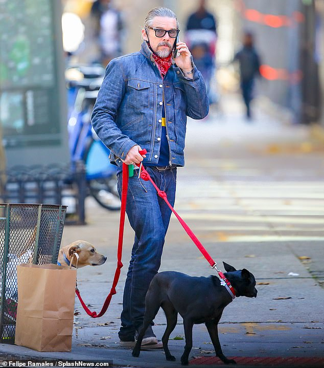 Big day: Ethan Hawke was seen going for a walk on his 50th birthday in NYC. The silver fox took his dogs out for a stroll in double denim, as he fielded birthday calls while ringing in half a century