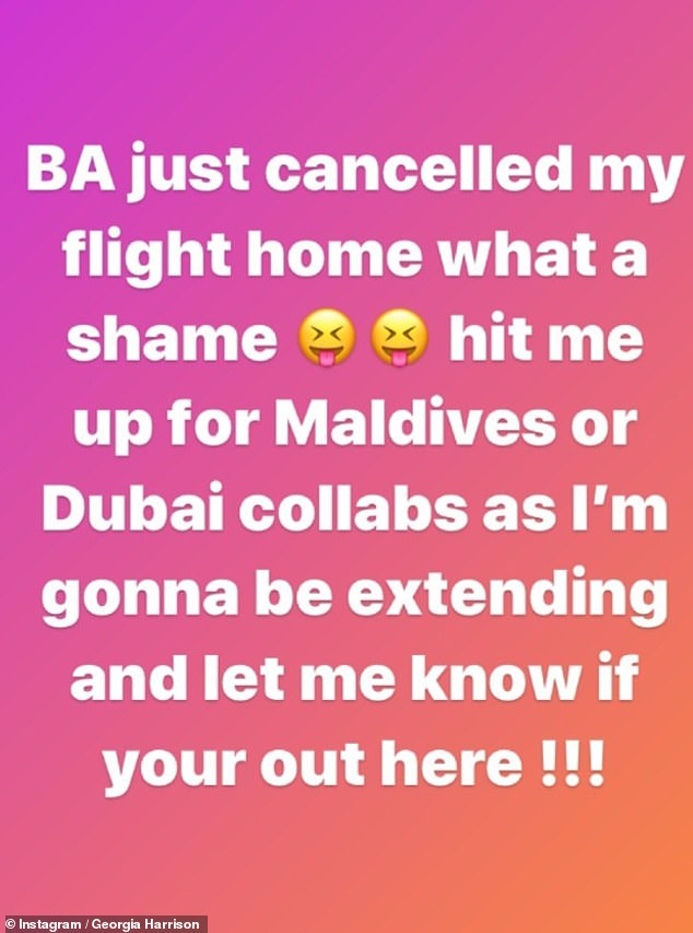 Sticking around: Earlier in the day she also revealed her flight home had been cancelled, meaning she'd be staying in The Maldives for the foreseeable future