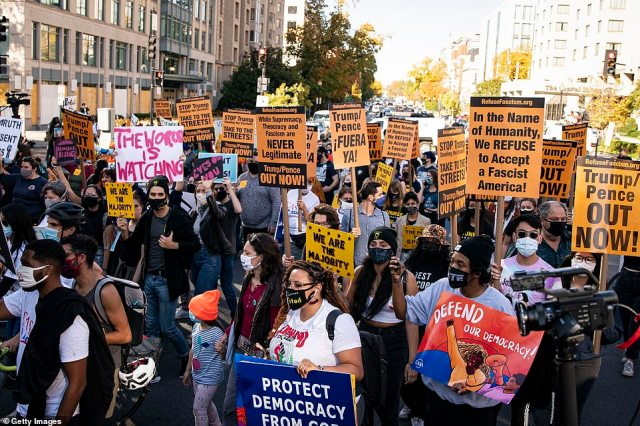 D.C.: Protests continued in Washington D.C. for the third day as the country anxiously awaits election results