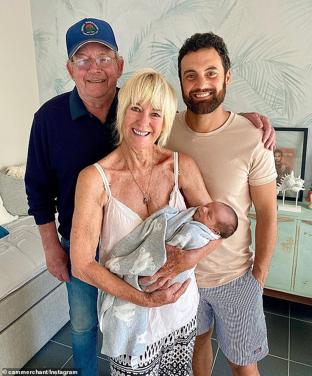 Family: Cameron has also posted pictures of himself with his son, including a recent photo of himself with parents, Russell and Margaret, meeting the newborn