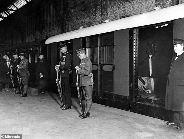 The body of the Unknown solider was brought back to London on November 11, 1920, pictured arriving at Victoria Station