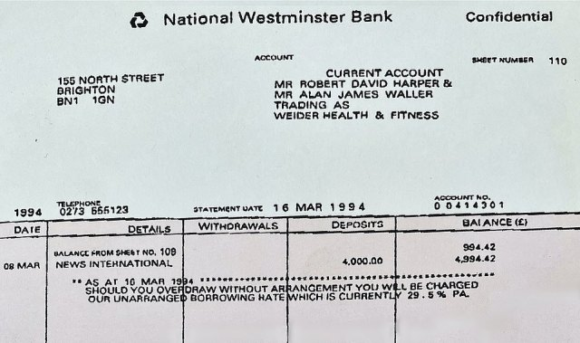Bashir clinched his access to the princess via her brother, Earl Spencer, who says the journalist showed him copies of bank statements (pictured) which purported to be from the private account of his head of security, Alan Waller. They apparently showed – falsely – that he was receiving money from a newspaper group and a mysterious offshore company