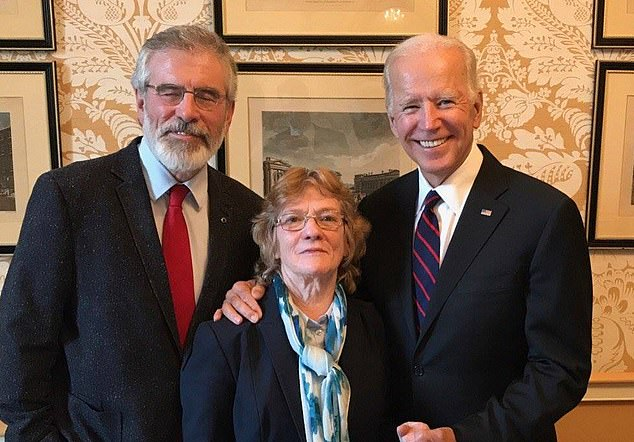 As Joe Biden inched closer to the White House last night, his own much-trumpeted Irish roots were placed under the spotlight. He is pictured above with Gerry Adams and IRA fugitive Rita O'Hare