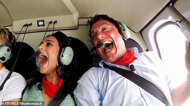 How it was: Helicopters have always formed part of the show - but this is the first time there are concerns of choppers interrupting production (Sair Khan and John Barrowman are pictured)