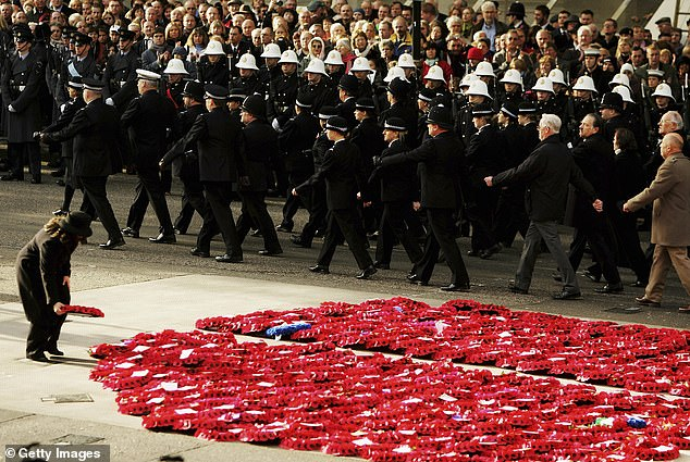 No surprise that real generals have lined up in ranks to condemn the decision. Falklands commander Major General Julian Thompson said it was 'absolutely ridiculous'. Pictured, a lady places a wreath at the base of the Cenotaph in 2006