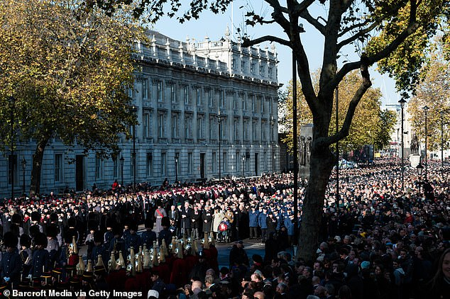 Thousands of people, army veterans and military personnel take part in the National Service of Remembrance at the Cenotaph on 10 November, 2019