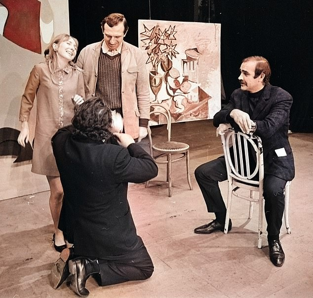 The photographs, uncovered by the Mail, show Sean Connery (pictured) – with a moustache and a glass of wine instead of James Bond's favourite tipple – as he tried his hand at directing a play in the 1960s