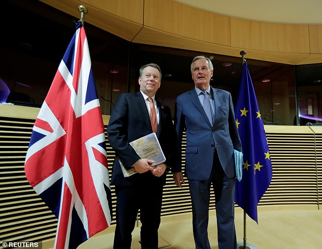 European Union chief Brexit negotiator Michel Barnier and British Prime Minister's Europe adviser David Frost are seen at start of the first round of post -Brexit trade deal talks between the EU and the United Kingdom, in Brussels, Belgium on March 2