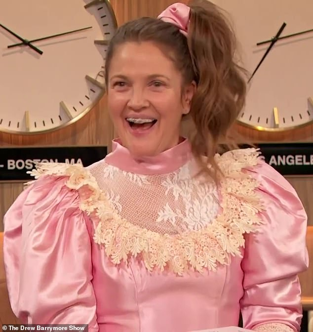 Back at it: Drew Barrymore reprised her Never Been Kissed role of Josie Geller on the latest episode of her new talk-show