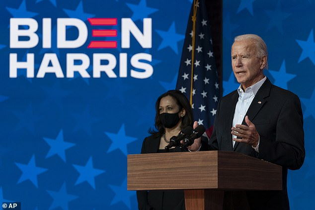 Biden is pictured speaking to the nation on Thursday night, as vote counting continued