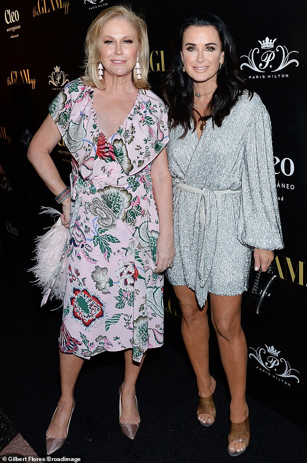 Sister act: Richards will be joined for season 11 of RHOBH by new cast members, sister Kathy Hilton (mother of Paris) and Crystal Kung (pictured with Hilton in June, 2019)