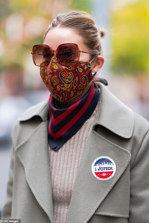 Rock the vote:Recently, Olivia was spotted casting her vote for the current presidential election at a polling center in the city; Olivia pictured on Tuesday