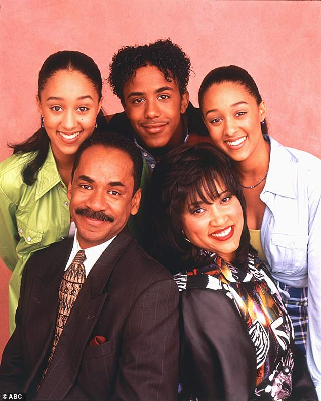 Stereotypes: The mother of two, 42, says she faced cultural and biracial stereotypes, which included being accused of not being 'Black enough'; Tamera is pictured on the left with co-stars Tim Reid, Jackée Harry, Marques Houston and sister Tia