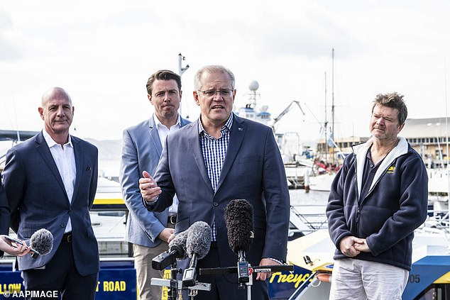 Prime Minister Scott Morrison (pictured in Hobart on Saturday) held a press conference moments after protesters were moved on