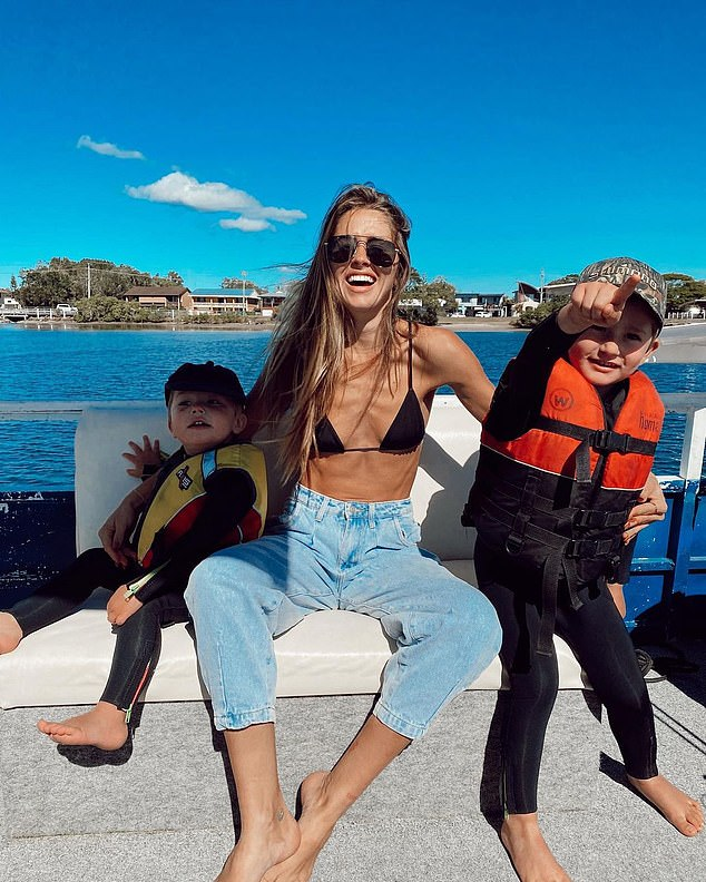 Ms Matthews works as a model and influencer while raising her two sons Rocket and Mars (pictured together)