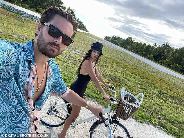 Living it up:Both Scott and Kourtney shared numerous photos from the once in a lifetime trip, including two biking shots that showed the pair looking happier than ever