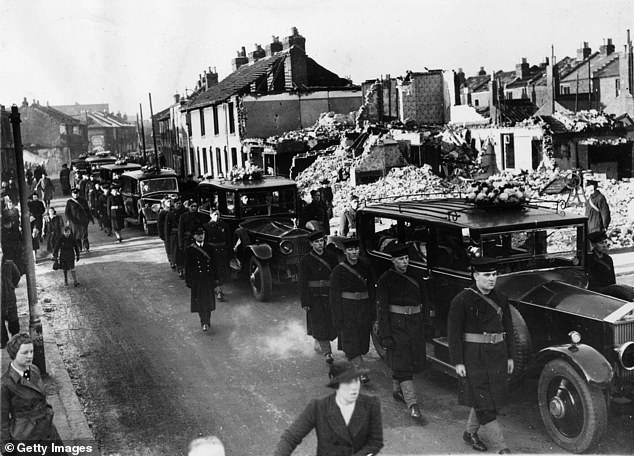 Portsmouth had the fourth worst death rate, researchers found. Pictured: Portsmouth after the Blitz