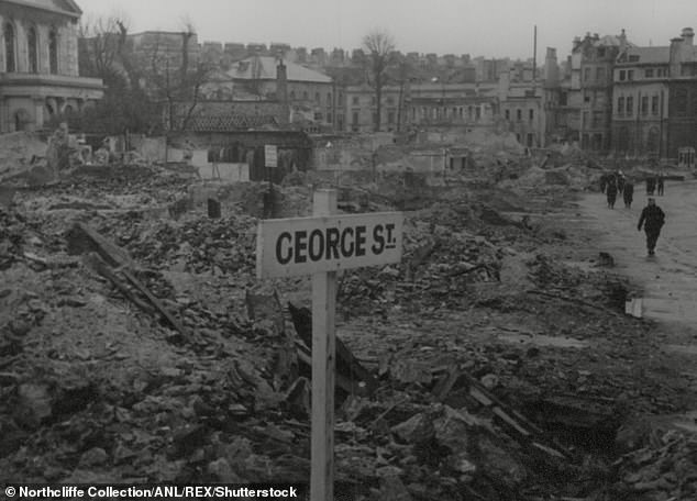 In Plymouth (pictured after the Blitz), 19.9 per cent of pupils are currently able to get free school meals and just 58.4 per cent of students are attaining pass rates or above at GCSE