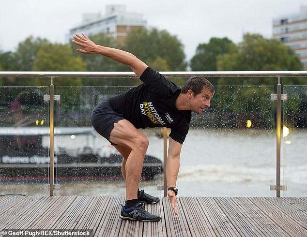 As England enters its second lockdown, Grylls has offered suggestions for how people can keep mentally and physically fit while gyms are closed. Pictured: Grylls exercising in London on World Fitness Day on September 23