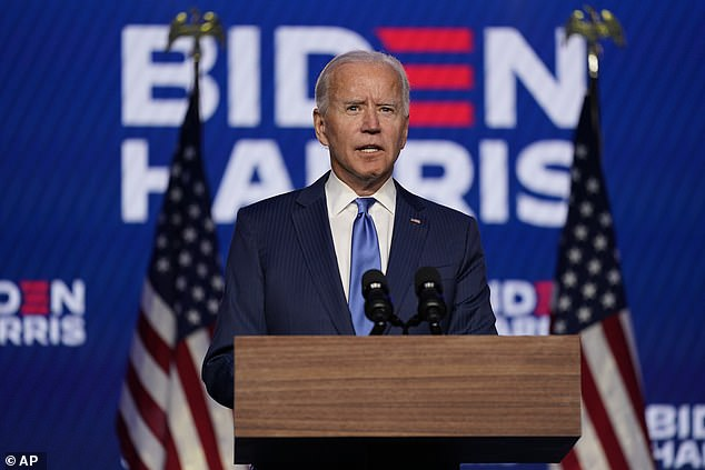 Celebrities have taken to social media to praise Joe Biden's rousing speech to the nation Friday night (above) where he all but declared White House victory and vowed to bring Americans back together, as his lead over Donald Trump continues to grow in critical swing states