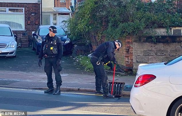 Members of the Leicestershire Police Tactical Support Team can be seen searching drains for a weapon following the series of random attacks. Racitalal has been jailed for life