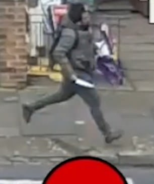 Carlos Racitalal, 33, running down a street holding a large blade after stabbing a man in his 70s