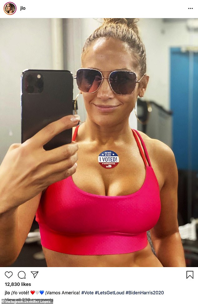 Vote: Jennifer made headlines earlier this week by sharing a scintillating snap wearing a skimpy pink sports bra, revealing she has voted for Biden