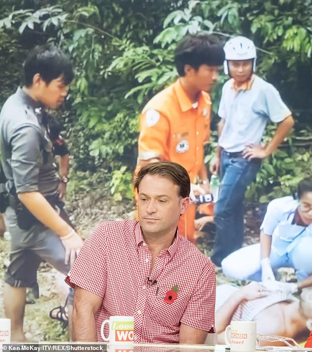 Ordeal: Paul hit headlines in 2017 when he was found with severe injuries at the bottom of a waterfall on the Thai Island of Koh Samui. He is pictured recounting the ordeal on Loose Women in 2017