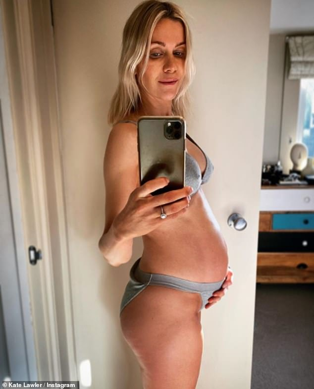 She's expecting:Kate gave followers another insight into her pregnancy on Monday morning as she took to Instagram with a picture of her growing baby bump