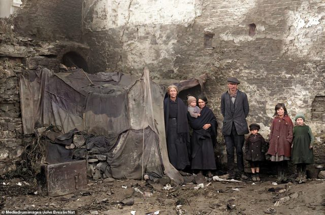A family outside their home in Alexander Street, Waterford, in February 1924. By this point, Waterford belonged to the self-governing Irish Free State, but independence had come at the cost of two bloody wars, first against British rule and then a civil war from 1922 to 1923. The history of Waterford goes back more than 1,000 years, with Vikings from Norway thought to have settled in the area in 853, but it is perhaps best known for the crystal products that have been produced there since 1783