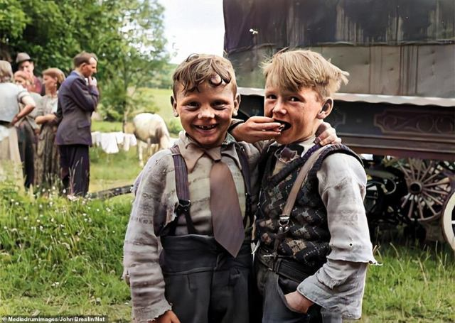 Irish Travellers in 1954: Two smartly-dressed boys from the Sheridan and O'Brien families pose for a photo together in Loughrea, County Galway