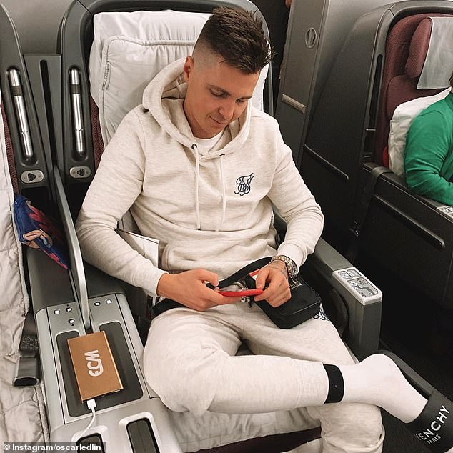 Mr Ledlin, 28, (pictured on a flight) has more than 12,000 Instagram followers