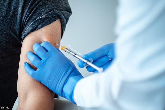 Hopes that a coronavirus vaccine will be ready before the end of 2020 were ignited this month when pharmaceutical companies Pfizer and BioNTech, Moderna and AstraZeneca all announced their clinical trials had been successful (Pictured: A trial volunteer receives the Pfizer jab)