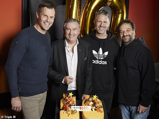'The last 11 years has been the most enjoyable experience you could imagine': Former AFL star Luke Darcy has said of his time on the show with Eddie. Pictured L to R: Luke, Eddie, Wil Anderson, Mick Molloy in 2019