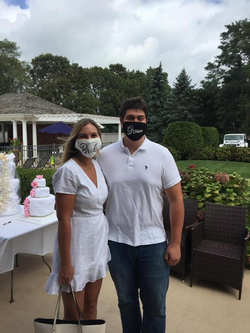 Piscatello and Rugnetta (pictured) tied the knot at North Fork Country Club in Cutchogue, Suffolk County, on October 17 in front of 113 guests - more than double the 50-person limit set out in the state's executive order for non-essential gatherings
