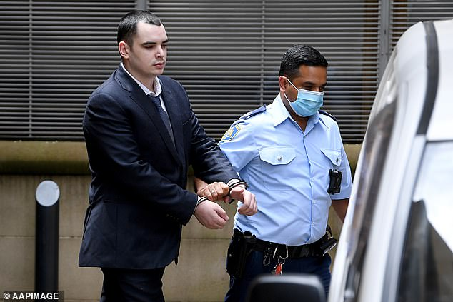 Mathew Flame is escorted to a Corrective Services van at the New South Wales Supreme Court in Sydney on Thursday