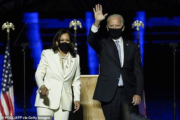 The letter congratulates the two on their historic win and says 'Black people won this election' thanks to grassroot efforts to get people out to vote. During his victory speech Biden said: 'The African American community stood up again for me. They always have my back, and I'll have yours'